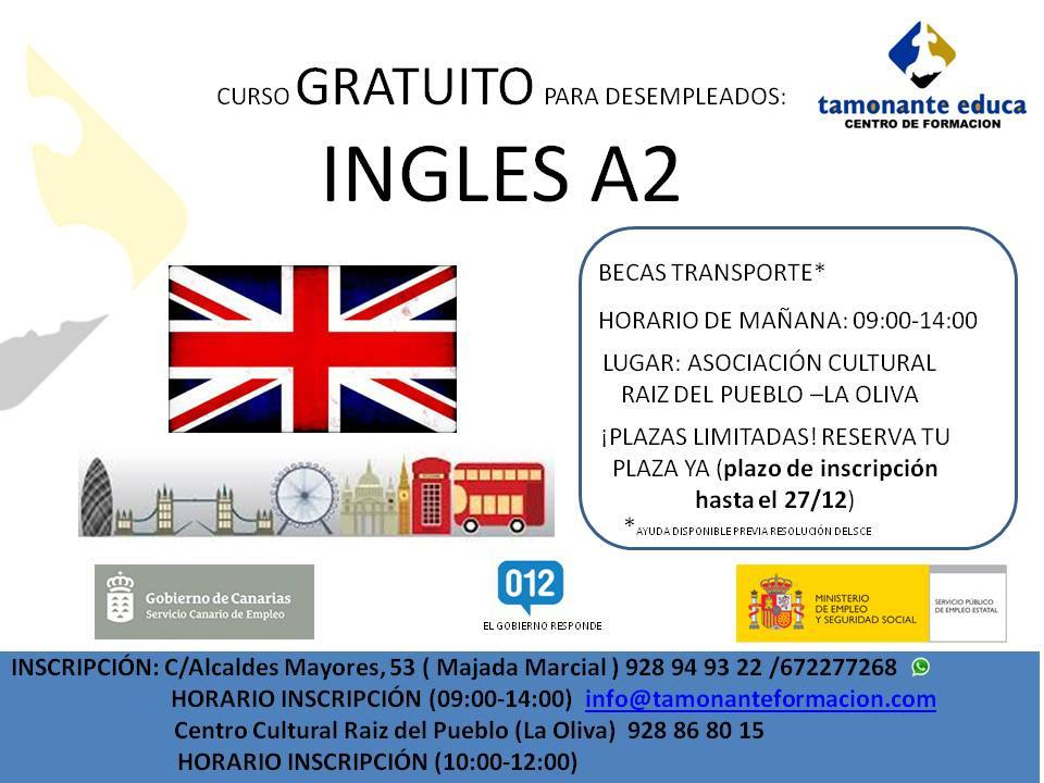 Curso Ingles A2 Desempleados Eventos Fuerteventura Talleres Y Cursos Pella De Ocio